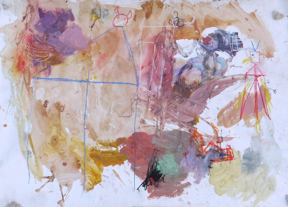 140-tableau-140scene-de-basse-cour-approx-100-x-150-cm-mixed-mediasur-papier-2015